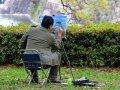 Maler malt Burg von Osaka