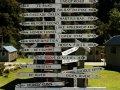 Wegweiser in Hollyford (Neuseeland)