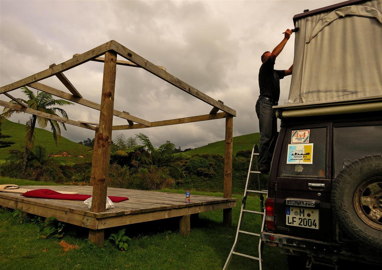 Dachzelt abdichten (Neuseeland)