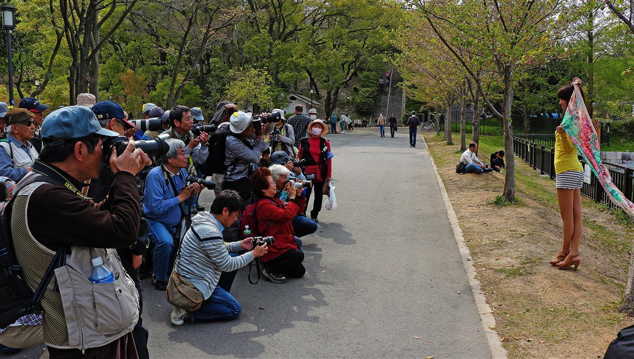 Chice Japanerin im Osaka Burggarten (Japan)