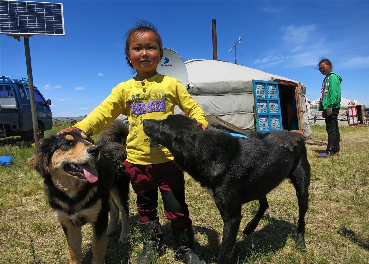 Kleiner Mongole mit Hirtenhunden (Mongolei)