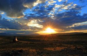 Sonnenuntergang in der Gobi (Mongolei)