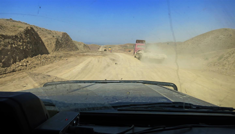 von der EU finanzierter Straßenbau (Kirgistan)